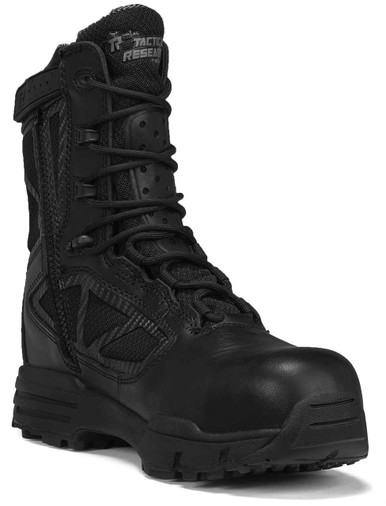 Tactical Research Men's Black Chrome Series 8″ Waterproof Side Zip Composite Toe Boot | 15-Wide | Nylon/Leather/Rubber | LAPoliceGear.com