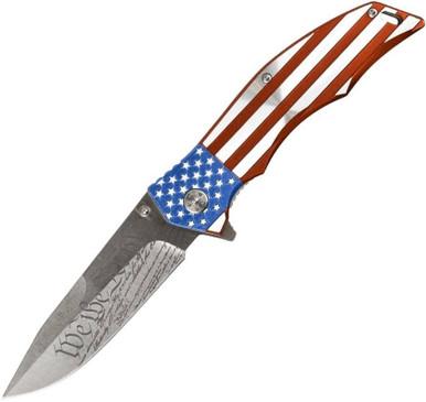 LA Police Gear Flag Folding Flipper Knife
