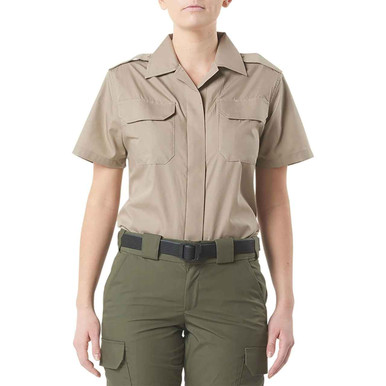 5.11 Tactical Women's CDCR Short Sleeve Duty Shirt 61022US | Coyote Silver | X-Large | Cotton | LAPoliceGear.com