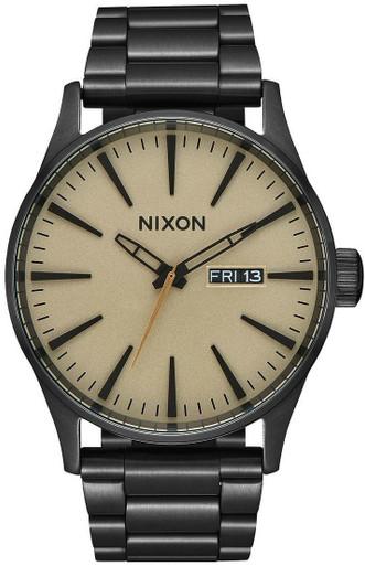 Nixon Sentry Stainless Steel Watch | Black/Khaki | LAPoliceGear.com