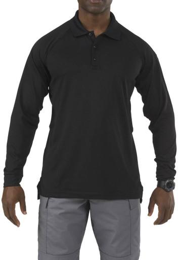 5.11 Tactical Men's Performance Long Sleeve Polo Shirt 72049 | Silver Tan | Medium | Polyester | LAPoliceGear.com