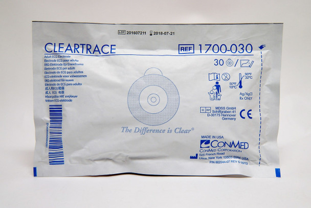 1700-030  ConMed Solid Gel Vinyl Electrodes (30 Pouch) 600 per Case
