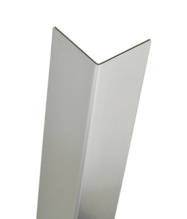 Stainless Steel Corner Guard, 96in x 1.5in, 16 ga, 90 Degree, Basic, Type 304, Satin 4 Brushed Finish
