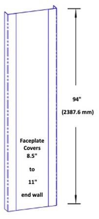 96'' x 1.5'' x 3.5'' x 1.5'' - 90 Deg, 16ga, Type 304, Satin #4 Finish, 3 Piece Stainless Steel End Wall Cap
