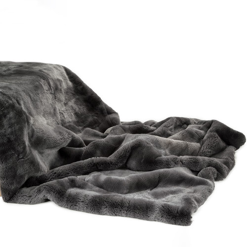 Luxury Real Rex Rabbit Throw Blanket Dark Teal