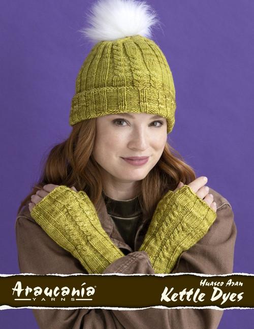 Araucania Pattern - Huasco Aran Kettle Dyes Pattern A88-01 Carolina Hat & Fingerless Mitts