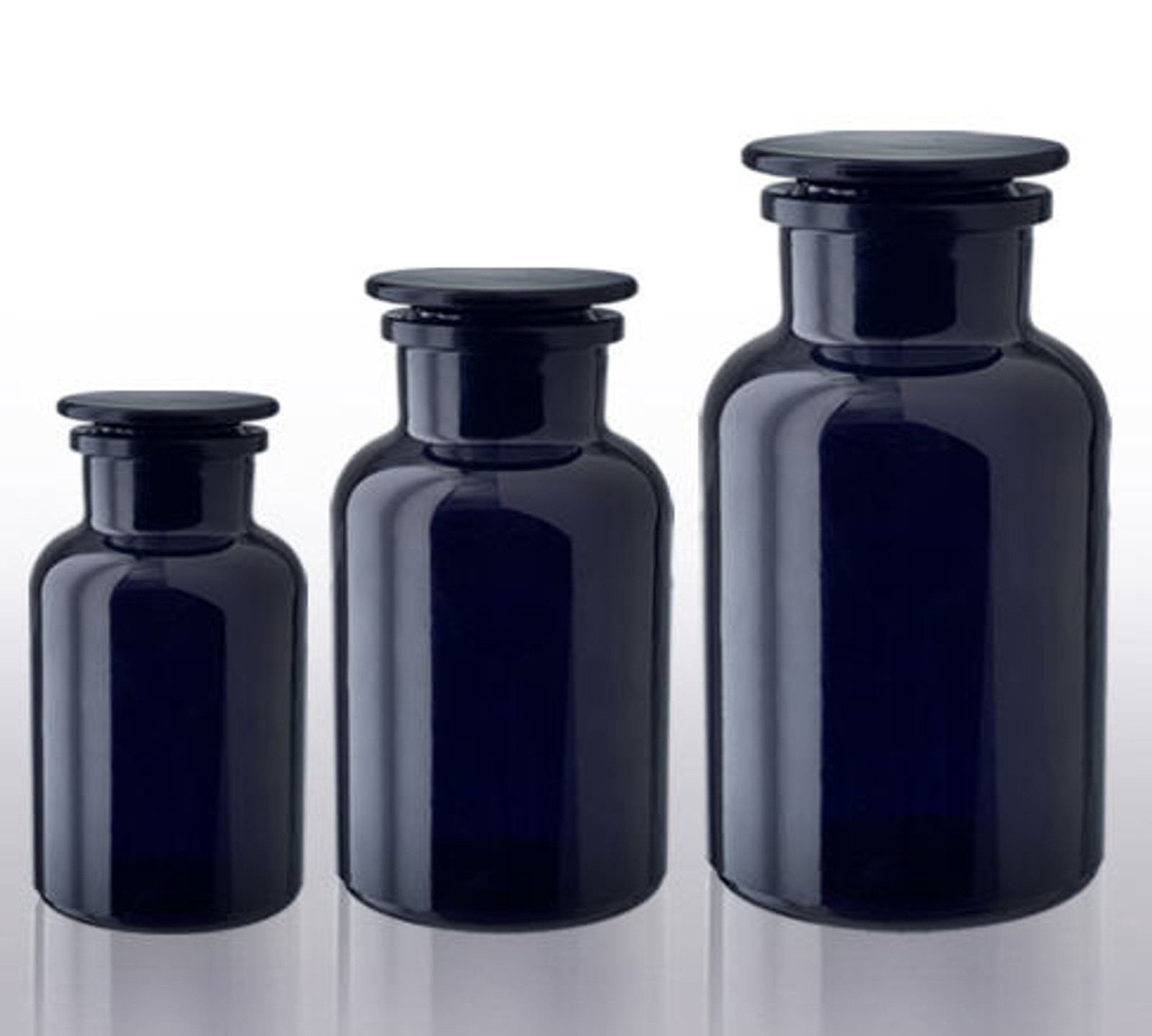 Apothecary Jar canister set. (1) 2 liter for flour or specialty flour storage. (1) 1 liter for coffee, powder sugar or bean storage. (1) 500 ml for nuts, herb or bean storage.