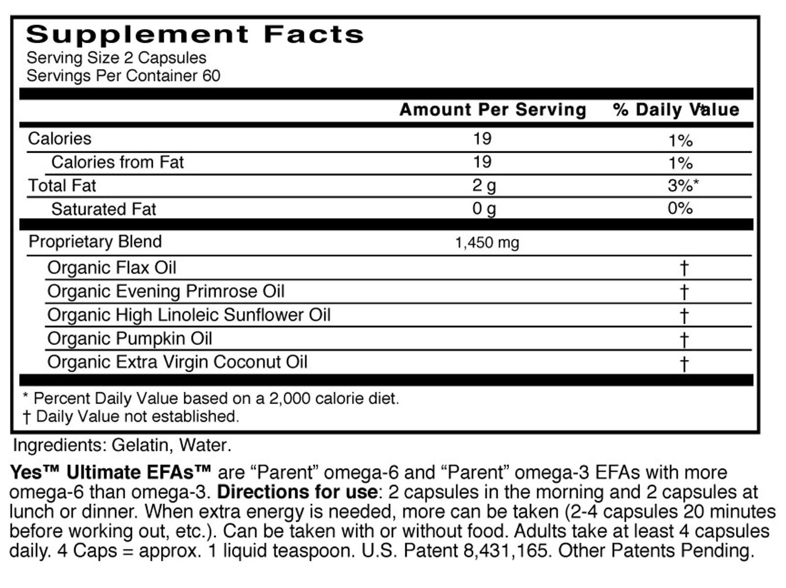 Yes EFAs - Parent Essential Oils, Capsules, Buy 1