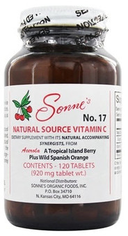 Sonne's #17 Natural Source Vitamin C tablets contain natural vitamin C derived from dehydrated juice of the Acerola and Amla berries. These food sources provides the vitamin C complex (i.e., bioflavonoids and other synergistic nutrients), factors not present in supplements that use synthetic ascorbic acid (chemical form of vitamin C). Our Natural Source Vitamin C has a 100 mg equivalent of ascorbic acid per serving, supplying 111% of the recommended Daily Value (%DV). However, the natural synergy of the vitamin C complex and bioflavonoids provides much more powerful antioxidant activity than synthetic vitamin C (ascorbic acid) does alone