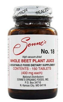 For over 70 years, Sonne's #18 Beet Juice Supplement has been a rich source of potassium, magnesium, phosphorous, calcium, sulfur, iodine, vitamins and trace minerals to our customers. Being that its a concentrate, Sonne's #18 Beet Juice Supplement contains many other health-promoting compounds like antioxidants, carotenoids, and nitrates, which makes it the perfect accompaniment to the Sonne's 7-Day Colon Cleanse, Maintenance, and Rebuilding Programs.