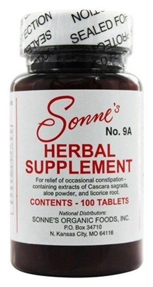Sonne Herbal Supplement #9A tablets are natural and non-habit forming. Use to help with constipation. Overall health and wellness. Night before a fasting. Herbal supplements should be a considered a vital daily supplement!