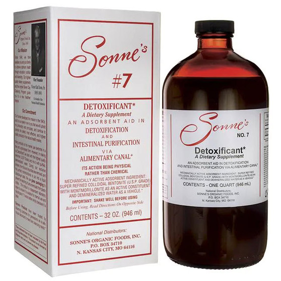 "Sonne's #7 Detoxificant is a natural and powerful detoxificant derived from USP Certified Food Grade Bentonite Clay Powder, a mineral-rich volcanic clay.*   We use a special process to refine the raw bentonite clay to remove mica, dirt and other impurities, in order to concentrate the active detoxifying ingredient, montmorillonite (""mont-mor-ill-o-nite"")*. This procedure places montmorillonite into a colloidal suspension and retains its innate negative charge. These properties allow the powerful adsorption (physical binding) of positively charged substances.* (Most metabolic, environmental, and chemical wastes are positively charged.) Montmorillonite possesses the ability to adsorb about 40 times its own weight in positively charged substances present in the alimentary canal.* Because montomorillonite has such strong adsorptive properties and is not digested, it tightly binds toxic material to be excreted."