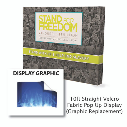 10ft Straight Velcro Fabric Pop Up Graphic Replacement