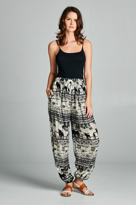 ELEPHANT PANTS WITH DRAWSTRING AND POCKETS. FREE SIZE ASSORTED COLORS