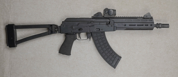 The ODS-1775 Pistol Shown with the following options; Aimpoint Micro T-1 mounted on an ARMs #31 Low Mount, CZ Scorpion Evo Iron Sights, Krebs Custom Safety, PSA AK-P / AK-V Triangle Side Folding Brace