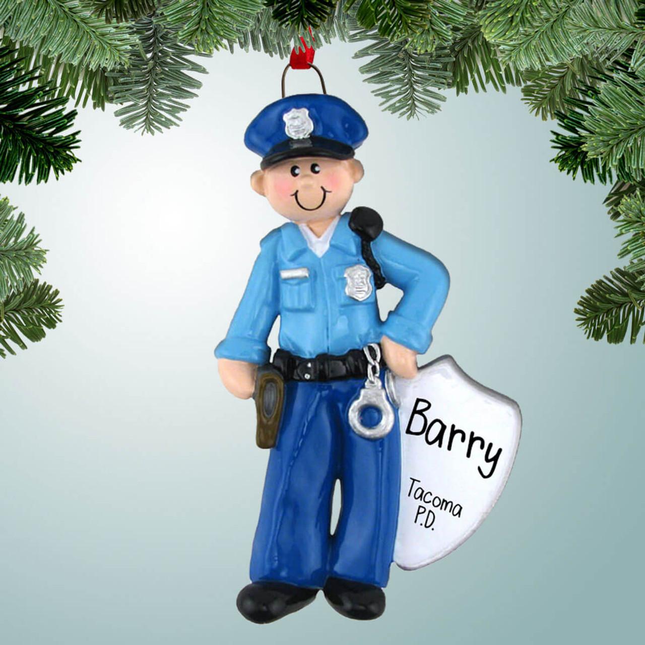 Police Christmas Ornaments.Policeman With Badge