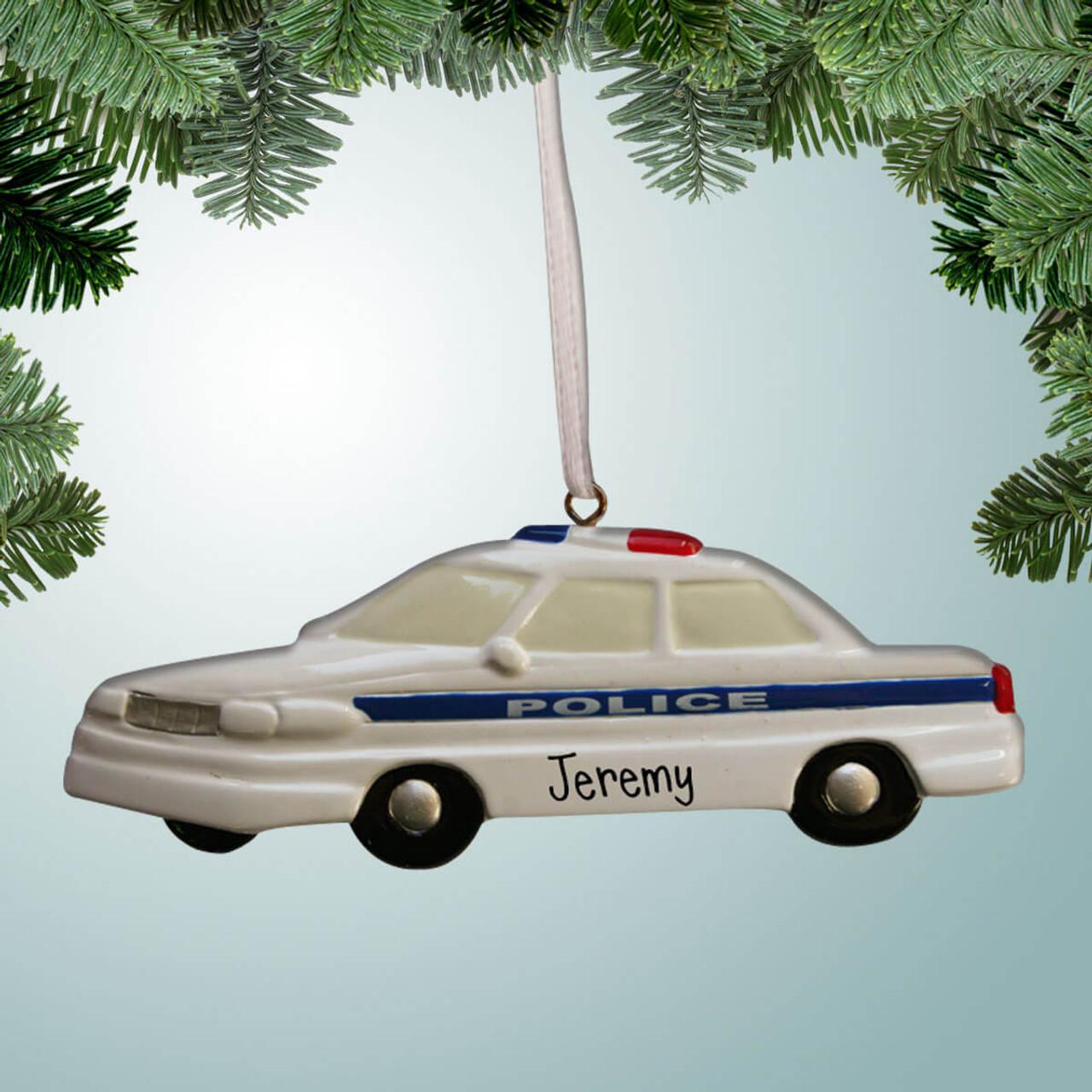 Car Christmas Ornaments.White Police Car