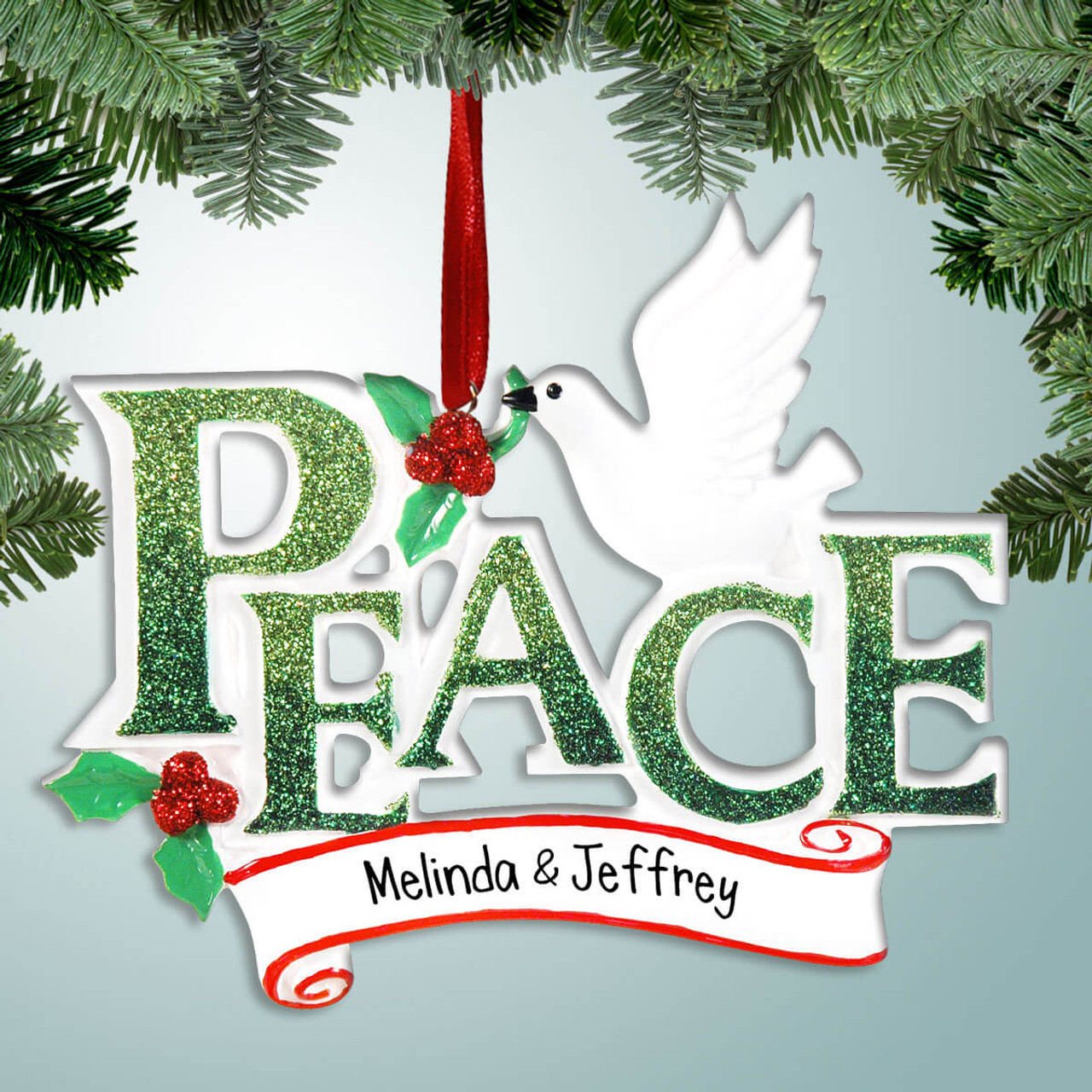 Peace Christmas Ornament.Peace With White Dove