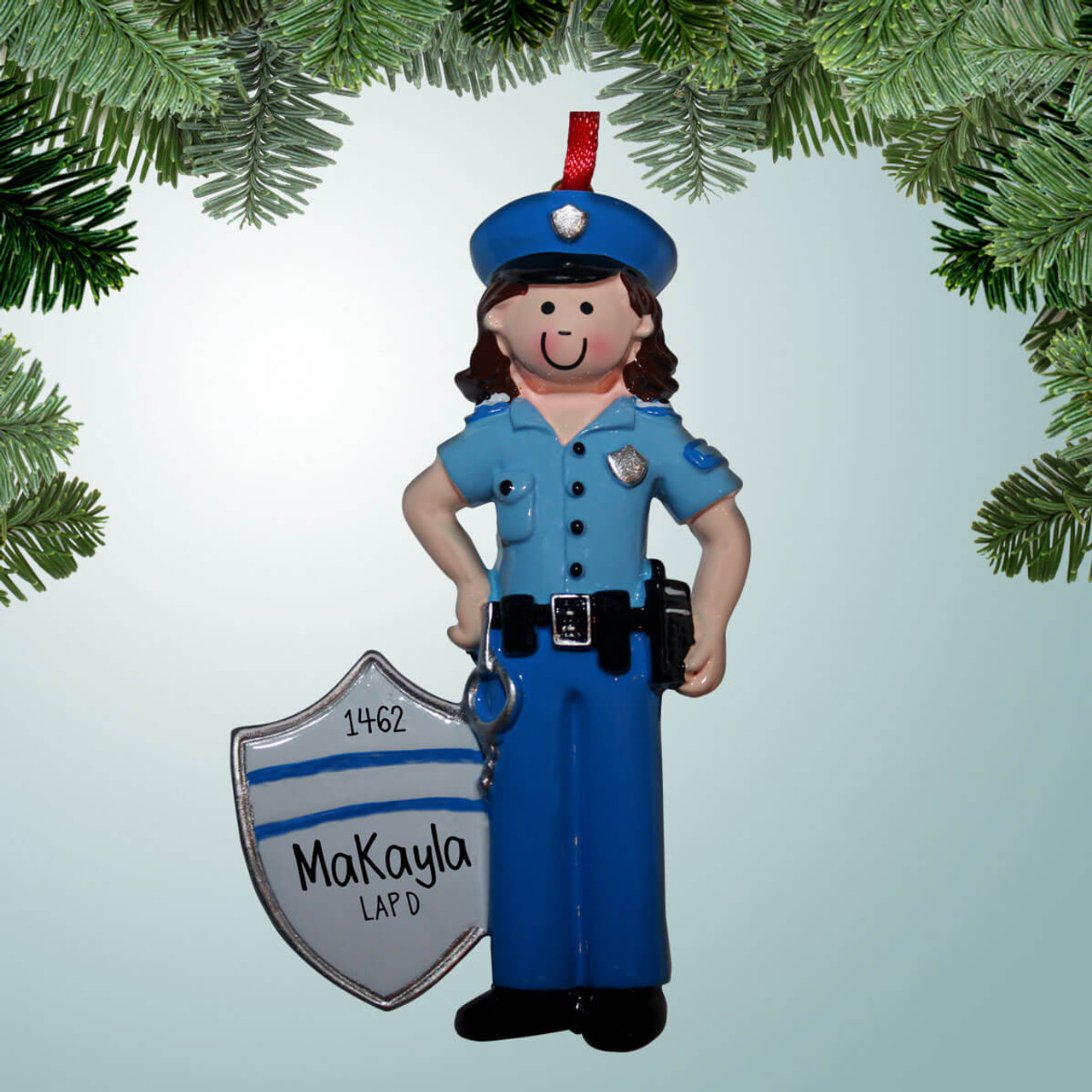 Police Christmas Ornaments.Policewoman Shield With Stripes Brown Hair