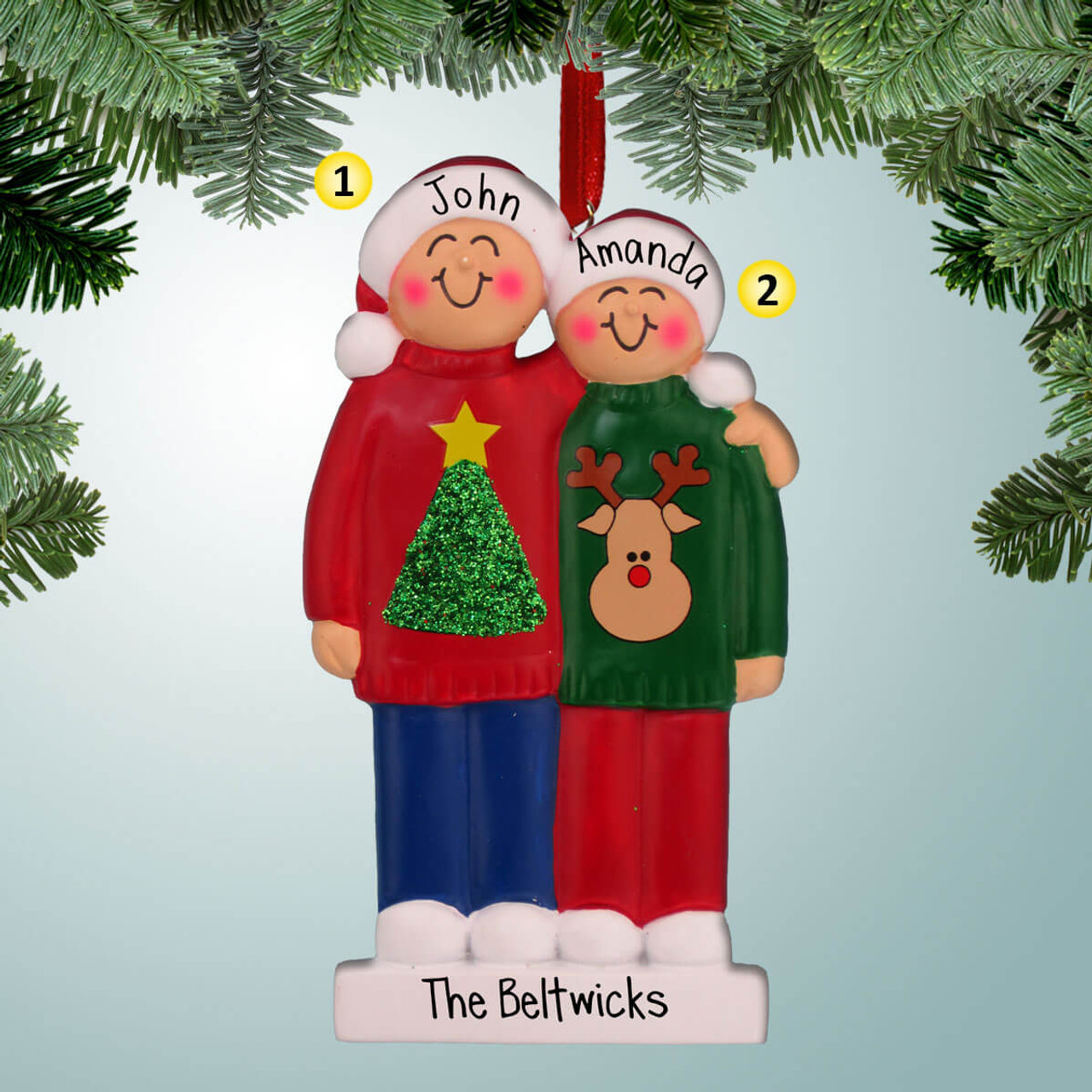 PERSONALIZED CHRISTMAS ORNAMENT TREE Black Bear Couple 2 People Family Our First