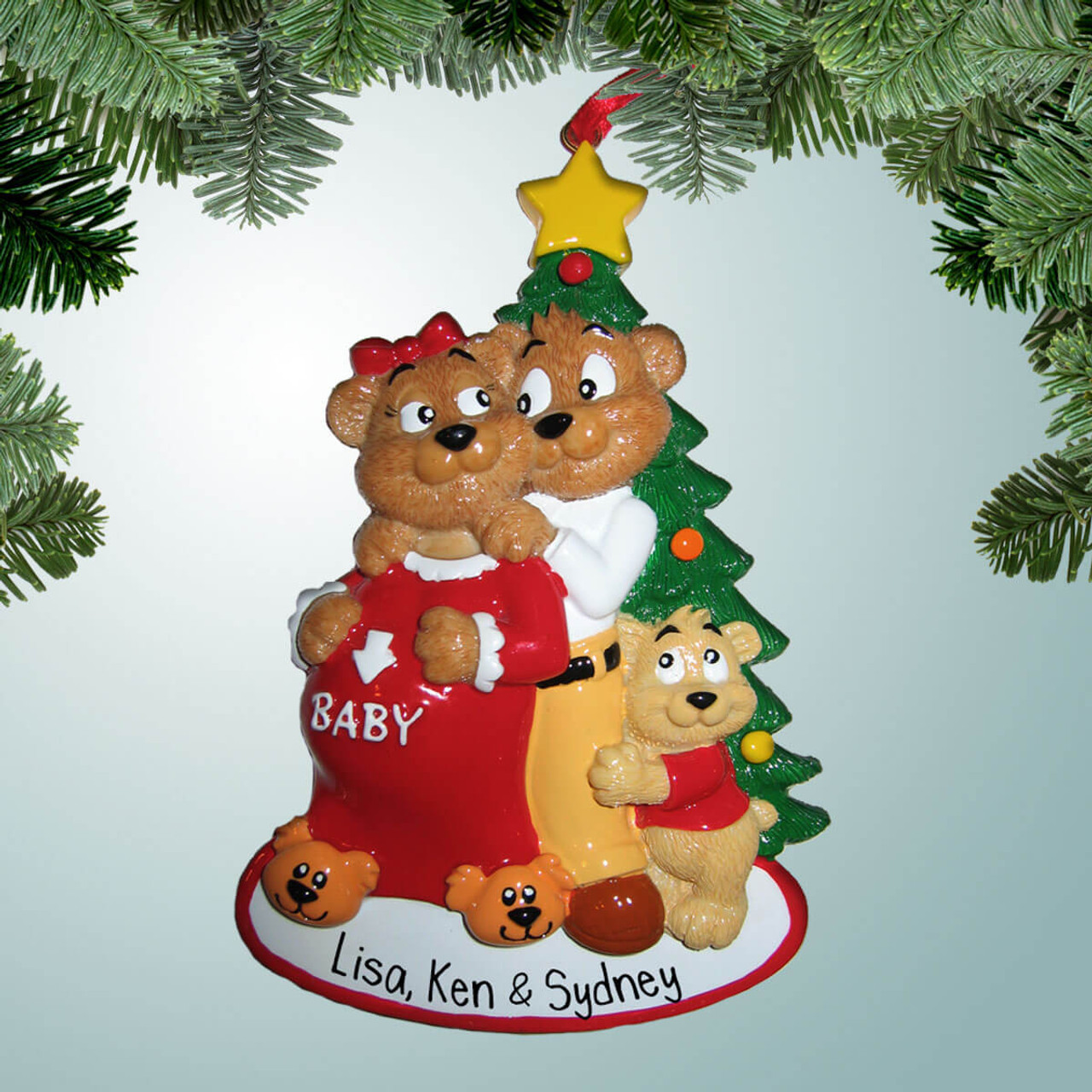 Expecting Christmas Ornaments.Bear Family Of 3 Expecting Baby 2