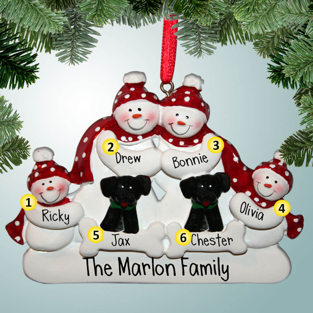 Snowman Family With 2 Black Dogs 4