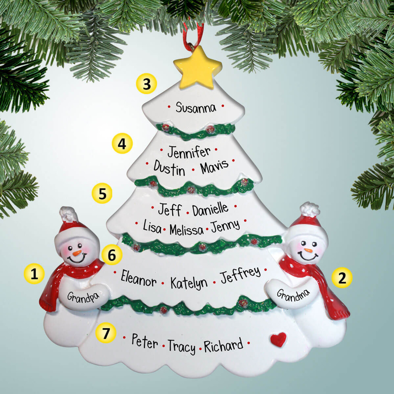 Christmas Ornaments Personalized.Large Family Christmas Tree