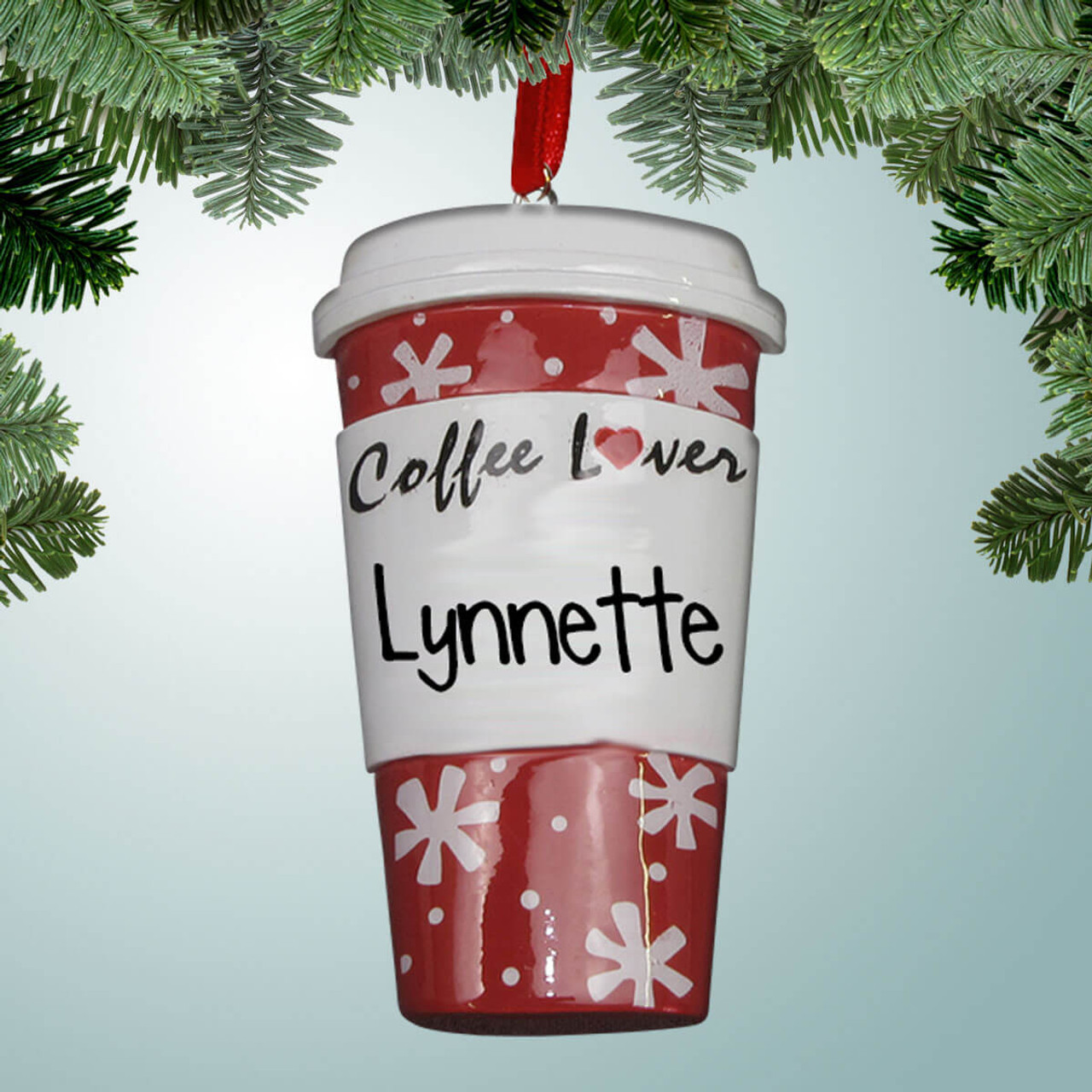 Coffee Christmas Ornaments.Red Coffee Lover Cup