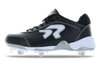 Ringor Dynasty softball spike. Leather shoes with metal cleats. Left shoe inside view.