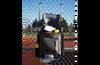 Ringor softball backpack hanging on fence.