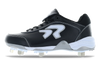 Ringor Dynasty softball spike. Leather shoes with metal cleats. Left shoe inside view. Wide