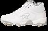 Ringor Flite softball spike in mid-high in White-Silver left shoe inside view.
