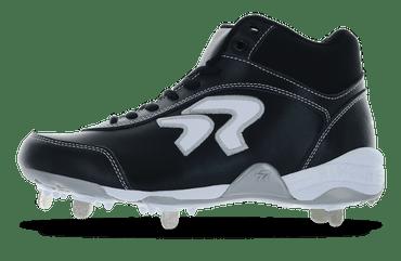 Ringor Dynasty softball spike in mid-high in Black-White left shoe inside view.