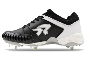 Ringor Flite pitching toe softball spike. Leather shoes with metal cleats. Left shoe inside view.