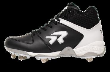 Ringor Flite softball spike in mid-high in Black-White left shoe inside view.