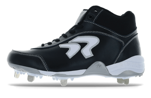 Ringor Dynasty softball spike in mid-high in Black-White left shoe inside view.