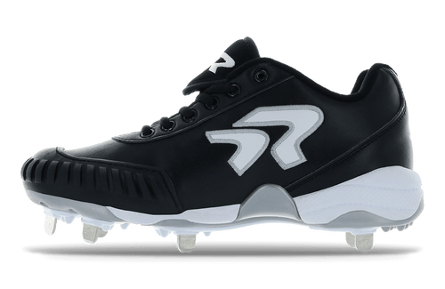 Ringor Bandit 2.0 softball spike with pitching toe. Inside of left shoe.