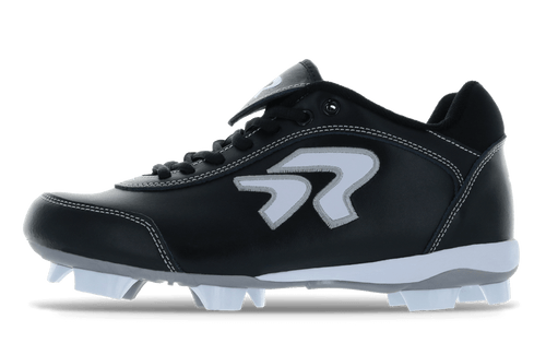 Ringor Dynasty 2.0 Cleat. Leather softball cleat. Left outside view. Wide