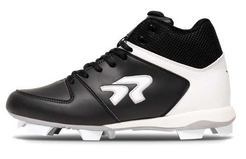 Ringor  Flite softball mid-high cleat left shoe inside view.