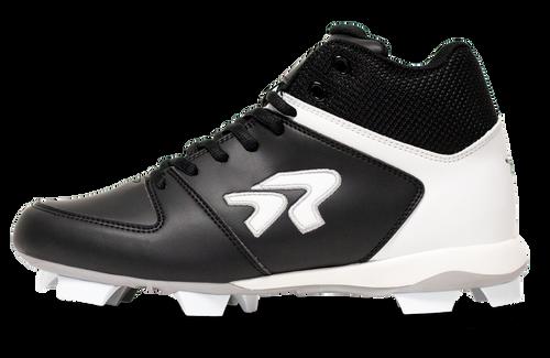 Ringor  Flite softball mid-high cleat left shoe inside view.