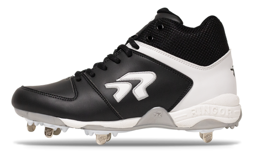 Ringor Flite softball spike in mid-high in Black-White left shoe inside view.