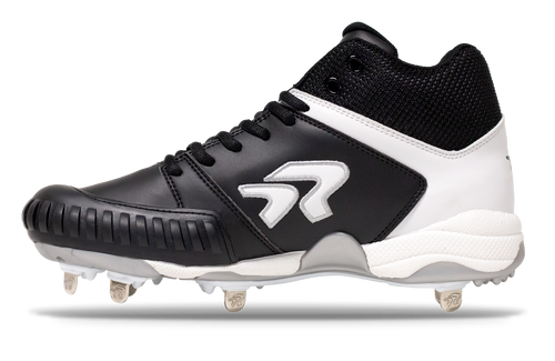 Ringor Flite softball spike. Leather shoes with metal cleats. Left shoe inside view. Mid