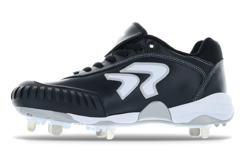Ringor Dynasty softball spike with pitching toe. Left shoe outside view.