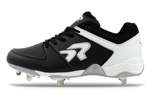 Ringor Flite softball spike. Leather shoes with metal cleats. Left shoe inside view.