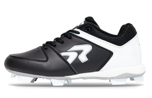 Ringor Flite Cleat. Leather softball cleat. Left outside view.