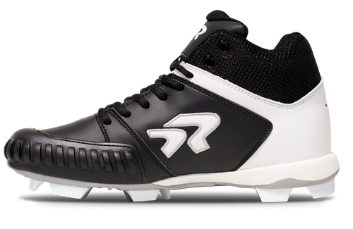 Ringor Flite pitching softball mid-high cleat left shoe inside view.