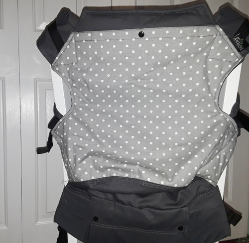 Grey dots Toddler AngelPack.   This is non adjustable version of our toddler MAX. The size is perfect for peschooler who don't need a short panel.