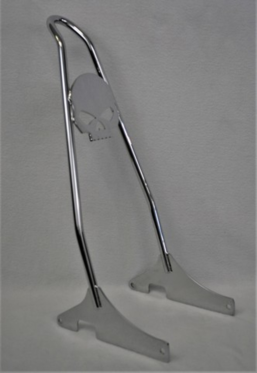 """CHROME 2000-2017 Heritage/Deluxe, and 2000-2005 Softail Hard Mount Skull Sissy Bar - 18"""""""