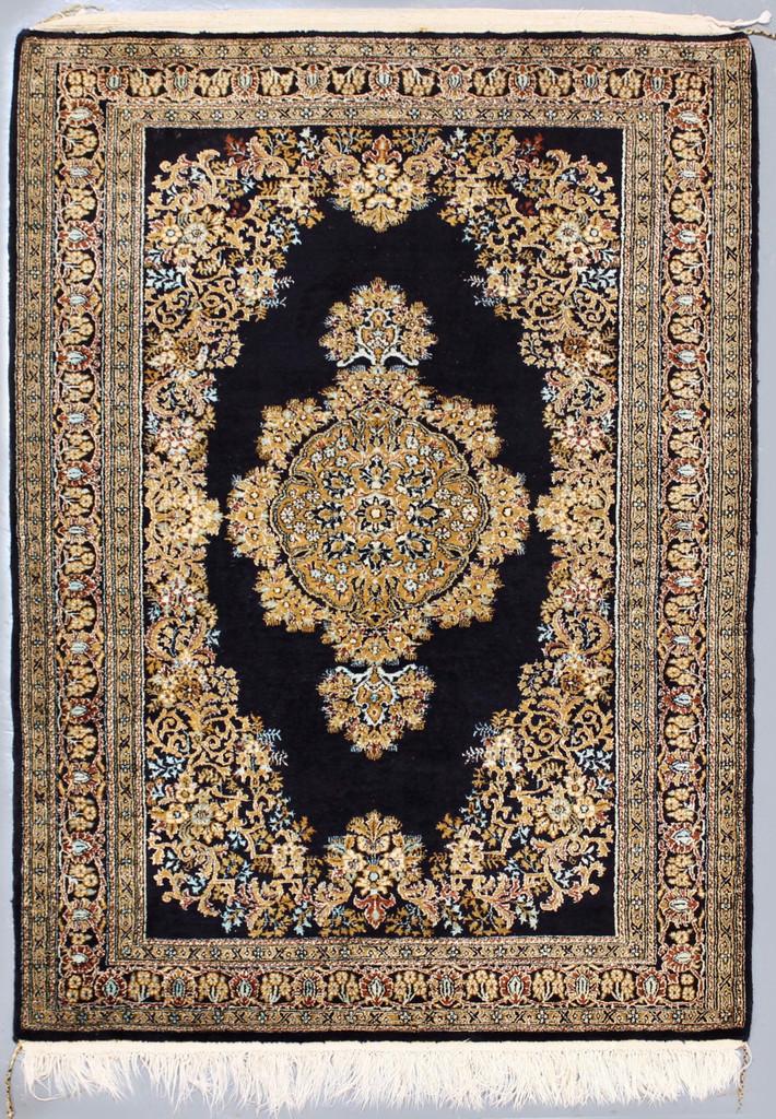 Qum Pure Silk Vintage Persian Rug (Ref 44) 146x105cm