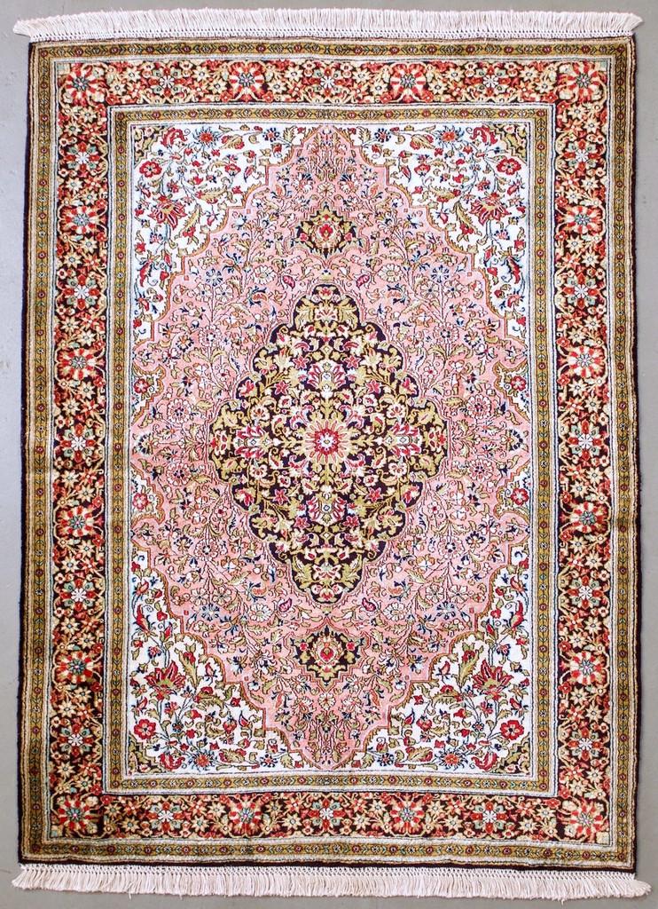 Qum Pure Silk Vintage Persian Rug (Ref 246) 157x110cm